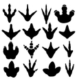 Dinosaur claw footprint silhouettes set vector image vector image
