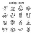 ecology sustainable lifestyle icon set in thin vector image vector image