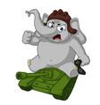elephant sitting on a tank cartoon vector image vector image