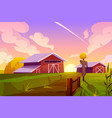 farm on summer nature rural background with barn vector image vector image