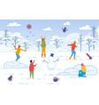 friends spending leisure time together in winter vector image vector image