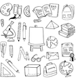 Hand draw element education supplies doodles vector image vector image
