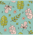 hand drawn leaves green tropical grunge style seam vector image vector image