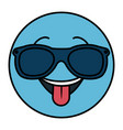 happy with sunglasses emoticon face character icon vector image vector image