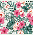 hibiscus leaves seamless tropical pattern vector image vector image