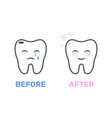 image a healthy and bad tooth in form of vector image