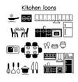 kitchen icon set graphic design vector image vector image