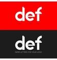 letter D E F logo paper set background vector image vector image