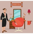 man standing barber shop hair salon hairdresser vector image