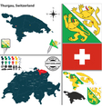 Map of Thurgau vector image vector image