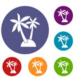 palm trees icons set vector image vector image