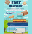 post office mail and parcels fast delivery vector image vector image