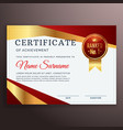 premium red certificate design template with vector image vector image