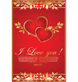 romantic red background with hearts vector image vector image