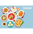 Seafood and pasta dishes icon for food design vector image vector image