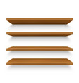 set isolated realistic wooden shelves on wall vector image