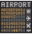 Set of letters on a mechanical timetable airport vector image vector image