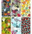 Set of six vertical cards with skulls and apples vector image vector image