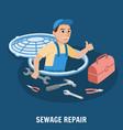 sewage repair plumbing service vector image