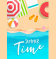 summer time card beach vacation in top view vector image vector image