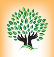 Supporting Hand Tree Logo vector image vector image