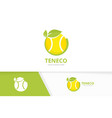 tennis and leaf logo combination game and vector image