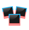 Three photo frame in US national colors isolated vector image vector image