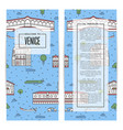 venice traveling flyers set in linear style vector image vector image