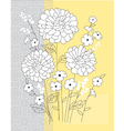 yellow grey floral vector image vector image