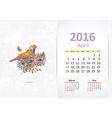 Calendar for 2016 april vector image