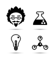 Professor and science icons vector image