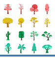 iicon set of many color trees vector image