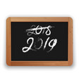2018 crossed out and 2019 chalk calligraphy on the vector image vector image