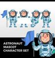 astronaut mascot character set logo icon vector image