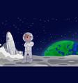 astronaut or cosmonaut standing on moon vector image vector image