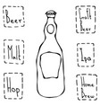 beer bottle hand drawn vector image vector image
