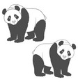 black and white image of panda isolated objects vector image