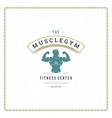 bodybuilder man logo or badge vector image vector image