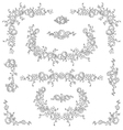 Calligraphic floral elements set vector image vector image