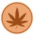 cannabis bronze coin vector image vector image