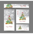 Cards with christmas tree for your design vector image