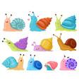 cartoon snail garden snails mascots cute little vector image vector image