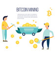 concept design with people mining bitcoins vector image vector image