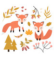cute fox in autumn forest set objects vector image vector image