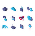 data internet technology isometric icons set vector image vector image