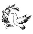 decorative silhouette hummingbird in flight vector image vector image