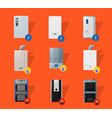 different boilers flat icons vector image vector image