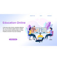 education online young people learning together vector image vector image