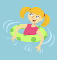 girl floating in swimming pool cartoon vector image