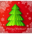 Green paper Christmas tree on red background vector image vector image